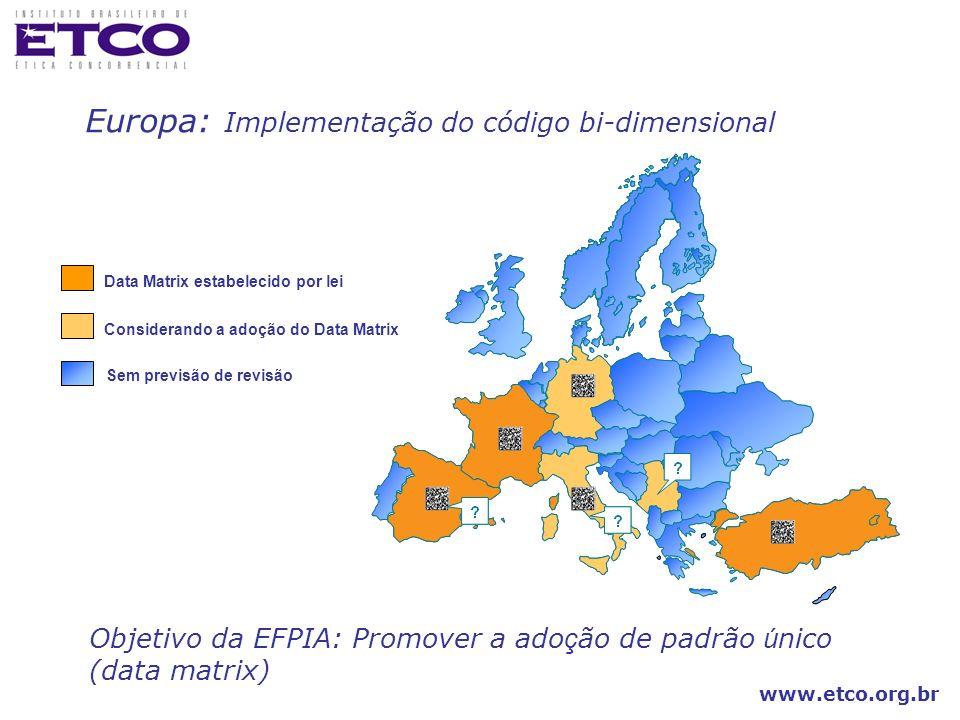 Europa: Implementação do código bi-dimensional