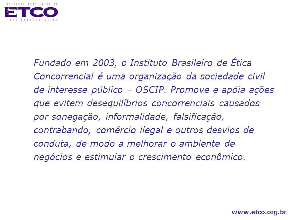 Fundado em 2003, o Instituto Brasileiro de Ética Concorrencial é uma organização da sociedade civil de interesse público – OSCIP.