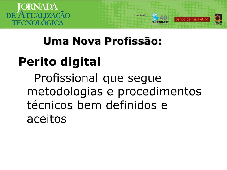 Uma Nova Profissão:Perito digital Profissional que segue metodologias e procedimentos técnicos bem definidos e aceitos