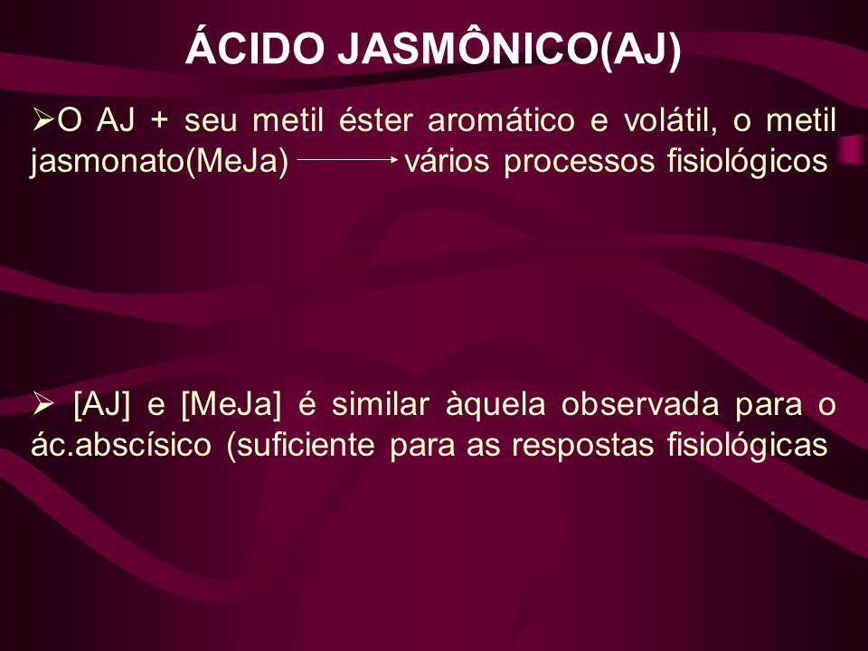 ÁCIDO JASMÔNICO(AJ) O AJ + seu metil éster aromático e volátil, o metil jasmonato(MeJa) vários processos fisiológicos.