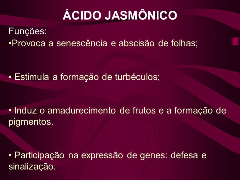 ÁCIDO JASMÔNICO Funções: Provoca a senescência e abscisão de folhas;