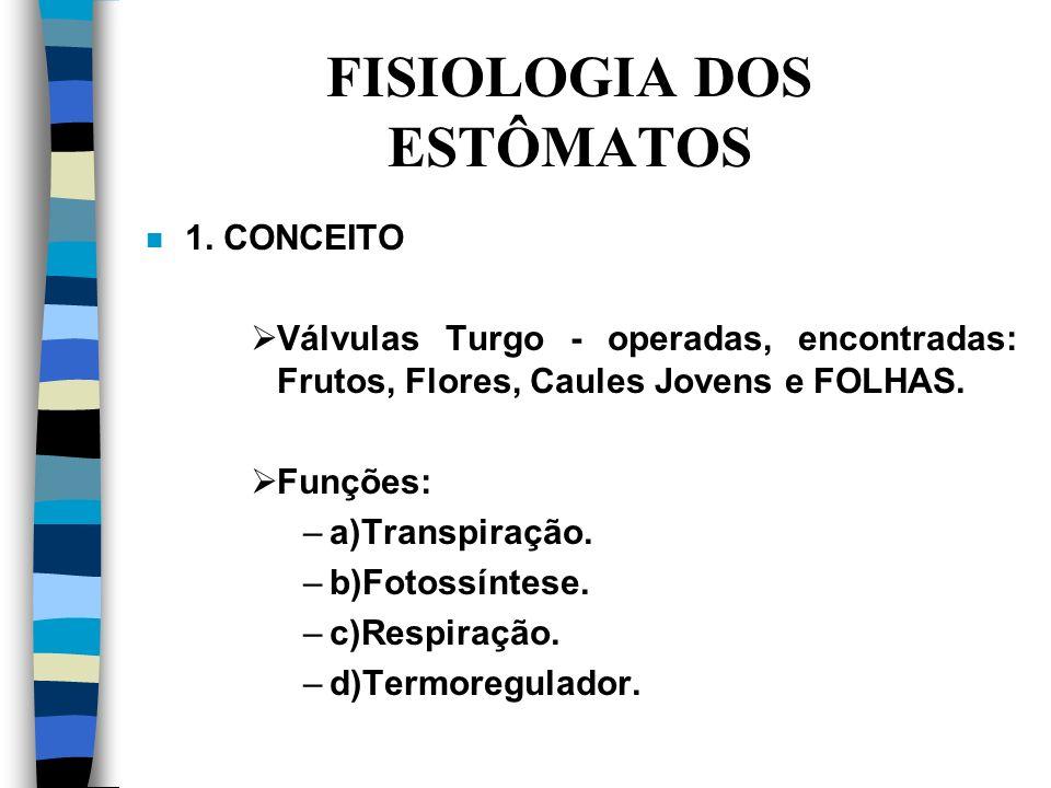 FISIOLOGIA DOS ESTÔMATOS