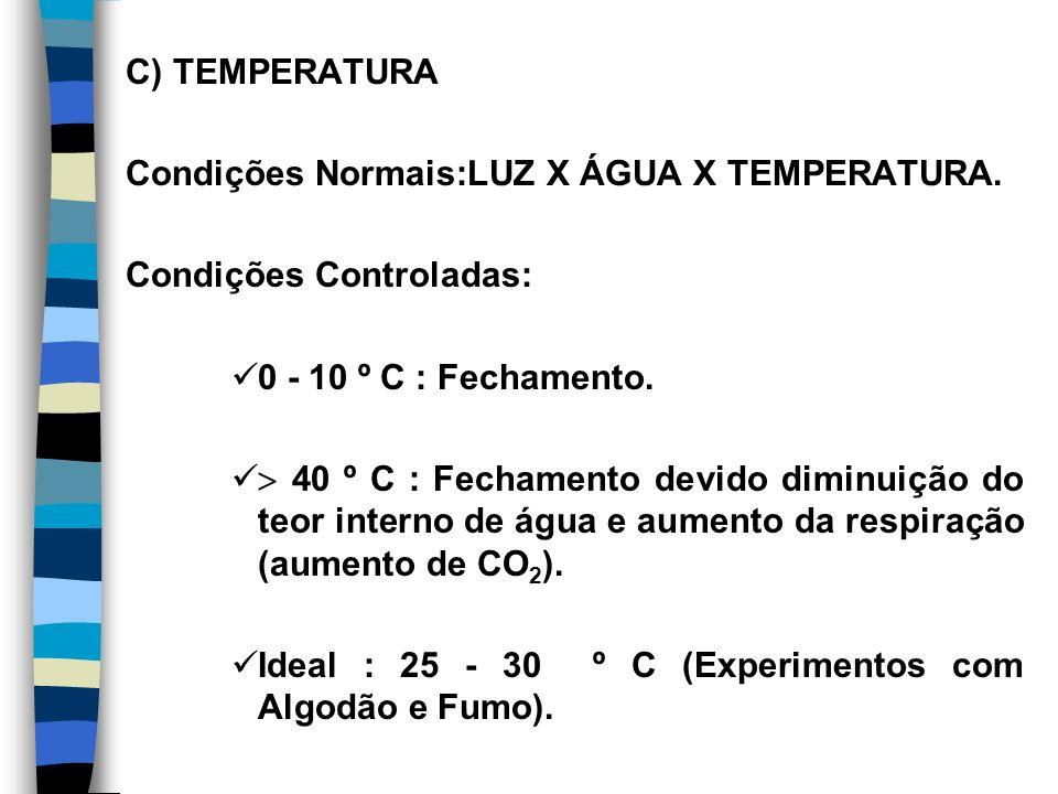C) TEMPERATURA Condições Normais:LUZ X ÁGUA X TEMPERATURA. Condições Controladas: 0 - 10 º C : Fechamento.
