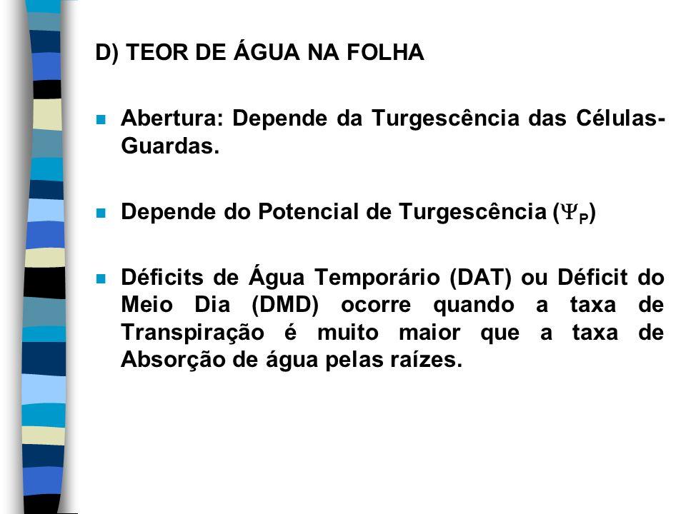 D) TEOR DE ÁGUA NA FOLHA Abertura: Depende da Turgescência das Células-Guardas. Depende do Potencial de Turgescência (P)