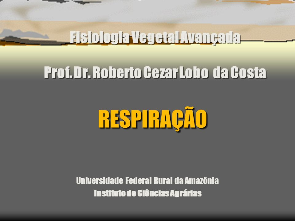 Fisiologia Vegetal Avançada Prof. Dr. Roberto Cezar Lobo da Costa