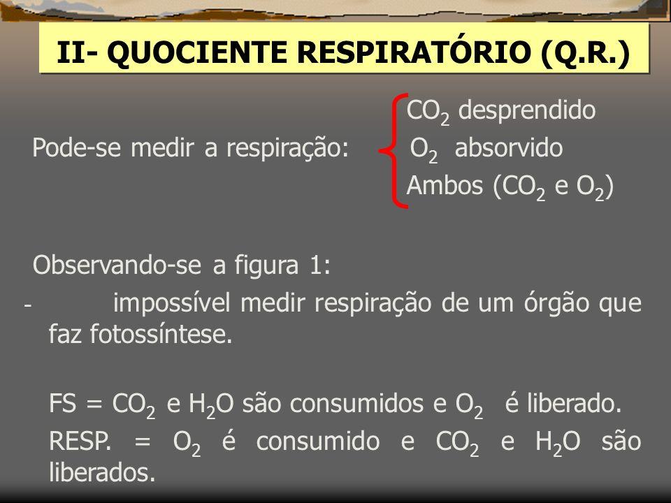 II- QUOCIENTE RESPIRATÓRIO (Q.R.)