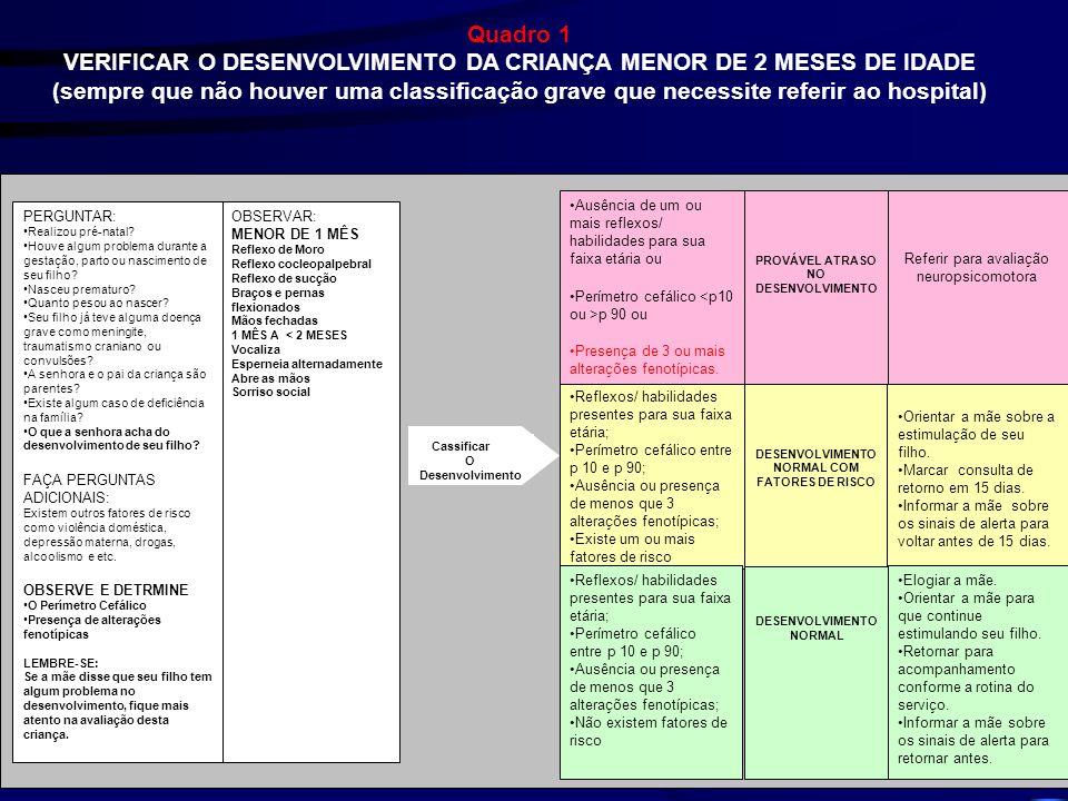 VERIFICAR O DESENVOLVIMENTO DA CRIANÇA MENOR DE 2 MESES DE IDADE