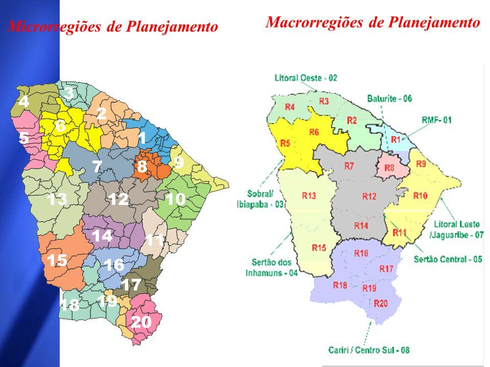 Macrorregiões de Planejamento Microrregiões de Planejamento