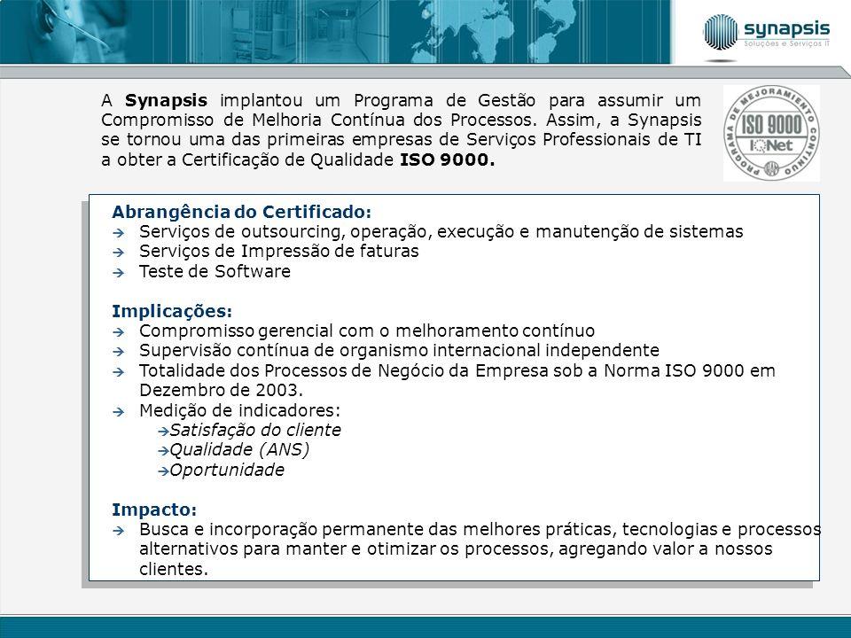 A Synapsis implantou um Programa de Gestão para assumir um Compromisso de Melhoria Contínua dos Processos. Assim, a Synapsis se tornou uma das primeiras empresas de Serviços Professionais de TI a obter a Certificação de Qualidade ISO 9000.