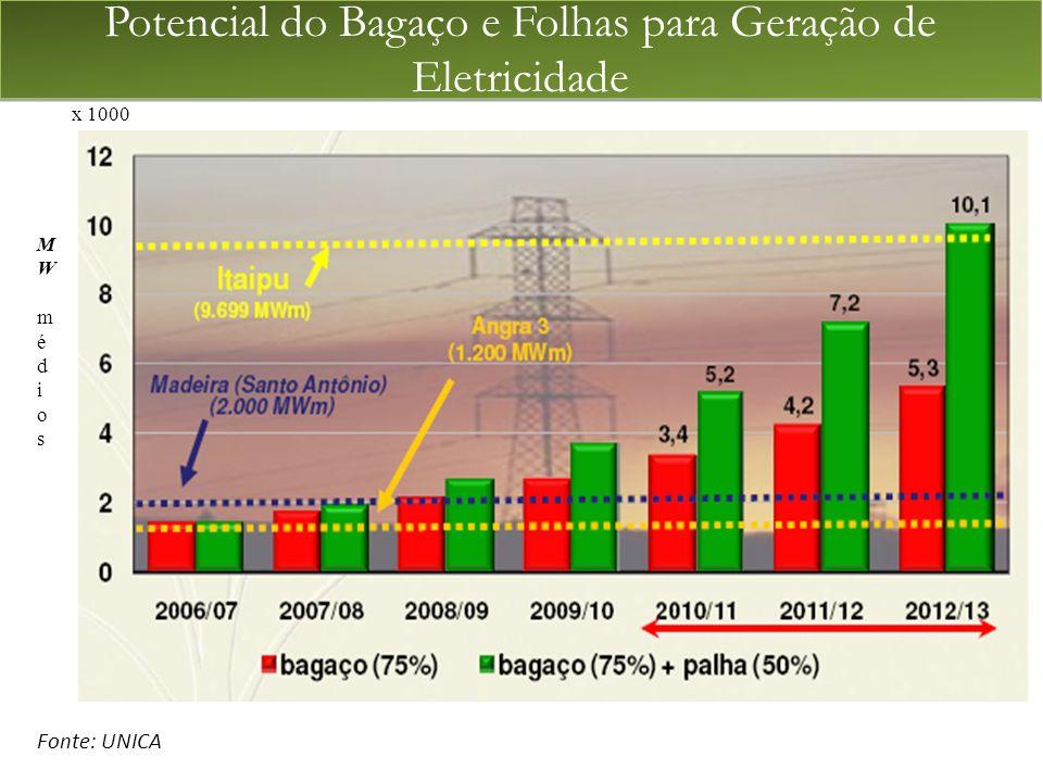 Potencial do Bagaço e Folhas para Geração de Eletricidade