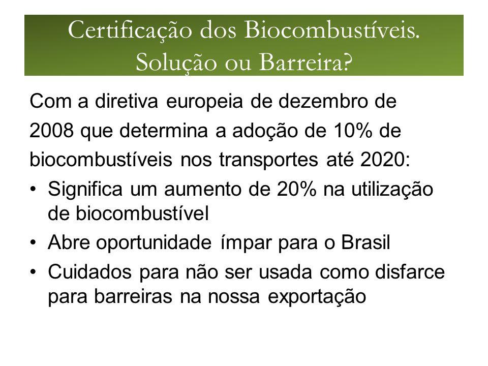 Certificação dos Biocombustíveis. Solução ou Barreira