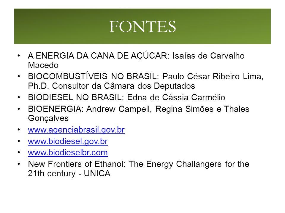 FONTES A ENERGIA DA CANA DE AÇÚCAR: Isaías de Carvalho Macedo