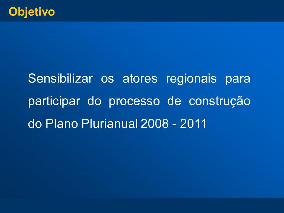 ObjetivoSensibilizar os atores regionais para participar do processo de construção do Plano Plurianual 2008 - 2011.