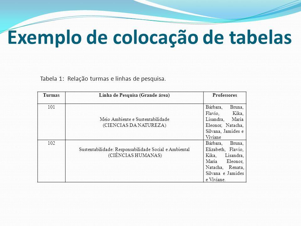 Tabela 1: Relação turmas e linhas de pesquisa.