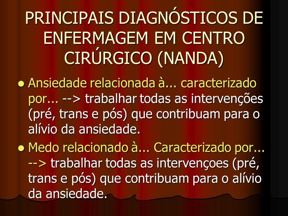 PRINCIPAIS DIAGNÓSTICOS DE ENFERMAGEM EM CENTRO CIRÚRGICO (NANDA)