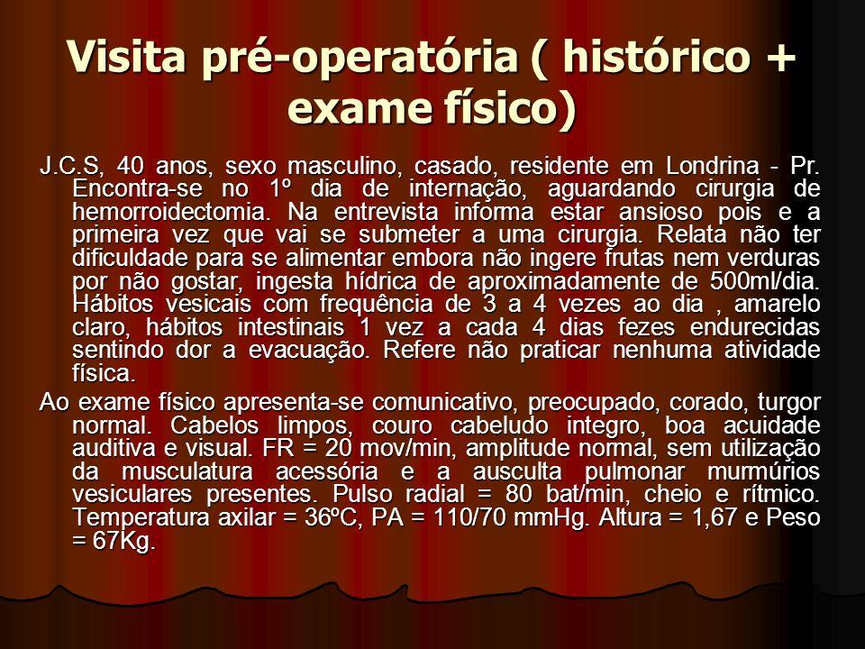 Visita pré-operatória ( histórico + exame físico)