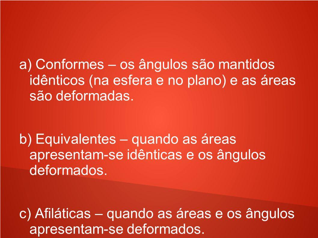 a) Conformes – os ângulos são mantidos idênticos (na esfera e no plano) e as áreas são deformadas.
