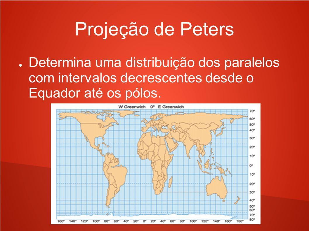 Projeção de PetersDetermina uma distribuição dos paralelos com intervalos decrescentes desde o Equador até os pólos.