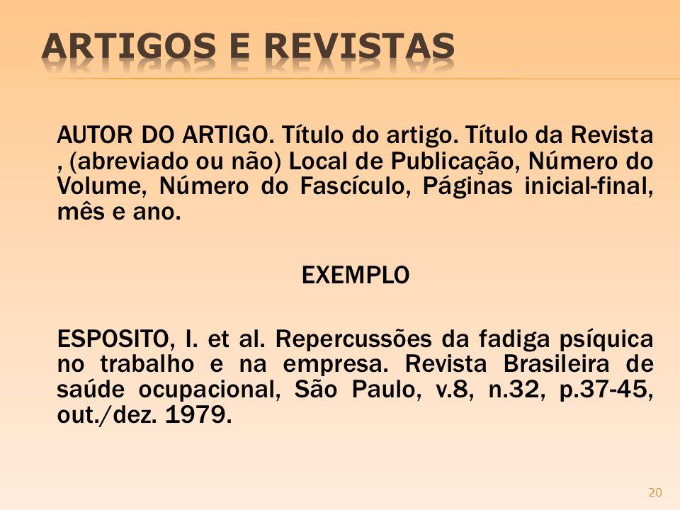 ARTIGOS E REVISTAS