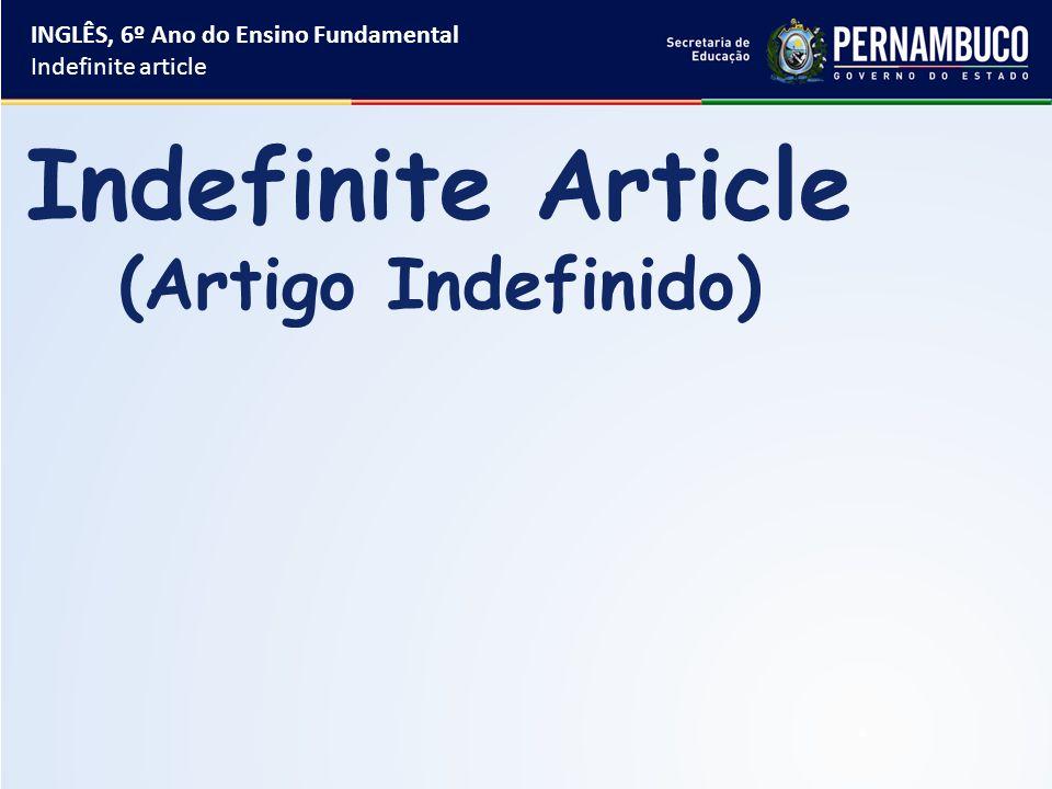 Artigo indefinido ingles