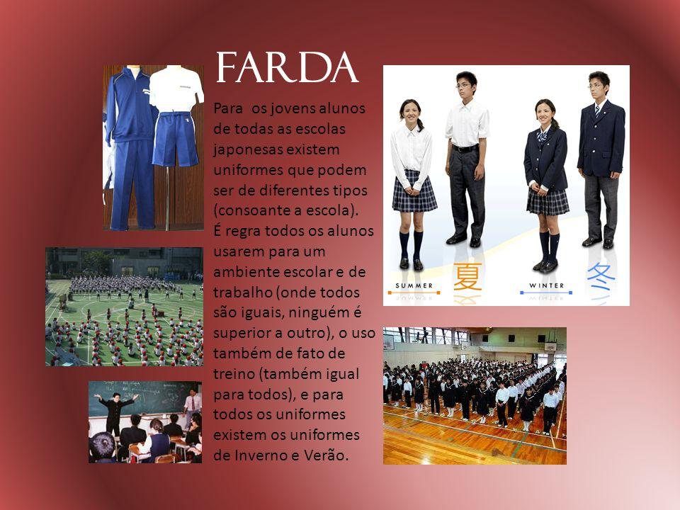 Farda Para os jovens alunos de todas as escolas japonesas existem uniformes que podem ser de diferentes tipos (consoante a escola).