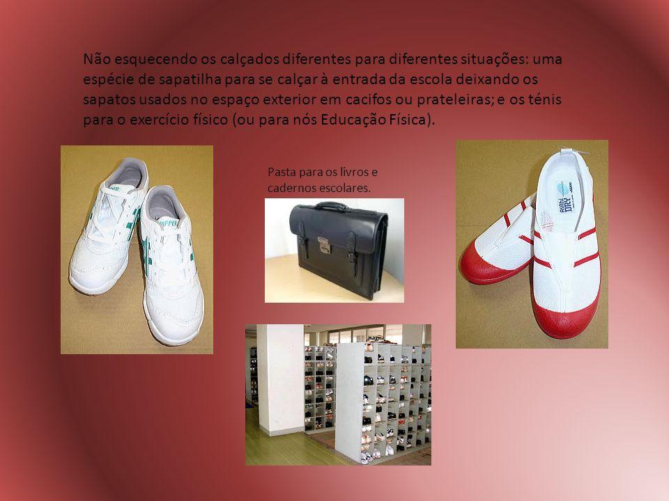 Não esquecendo os calçados diferentes para diferentes situações: uma espécie de sapatilha para se calçar à entrada da escola deixando os sapatos usados no espaço exterior em cacifos ou prateleiras; e os ténis para o exercício físico (ou para nós Educação Física).