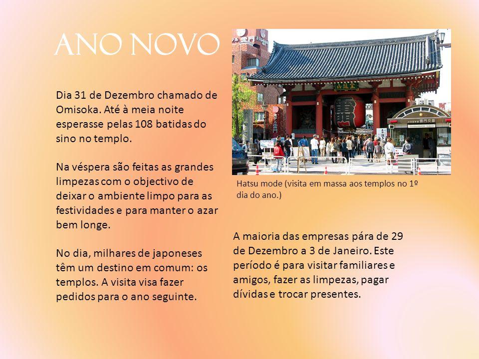 Ano Novo Dia 31 de Dezembro chamado de Omisoka. Até à meia noite esperasse pelas 108 batidas do sino no templo.