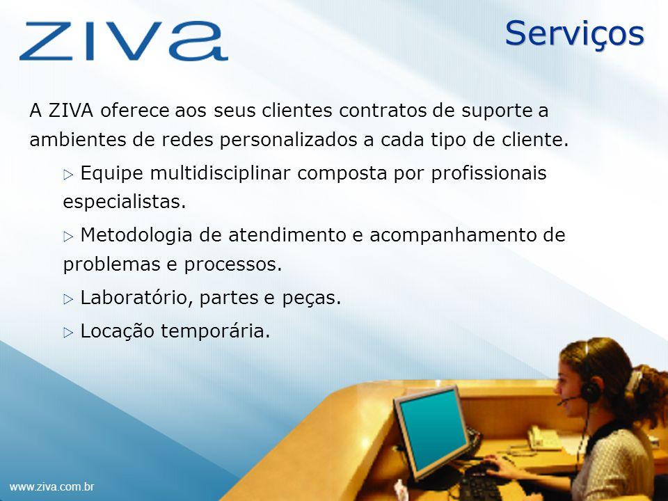 Serviços A ZIVA oferece aos seus clientes contratos de suporte a ambientes de redes personalizados a cada tipo de cliente.