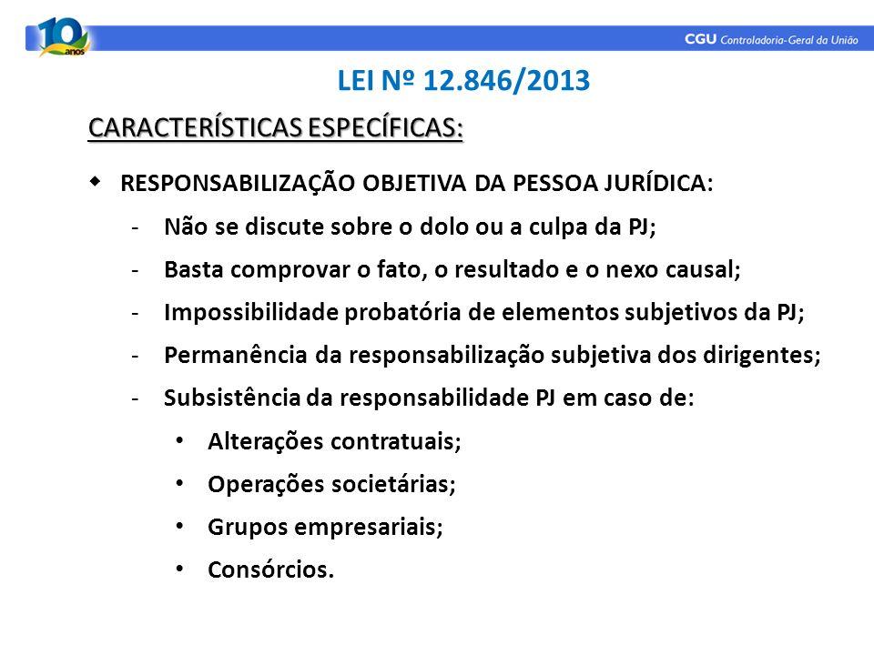LEI Nº 12.846/2013 CARACTERÍSTICAS ESPECÍFICAS: