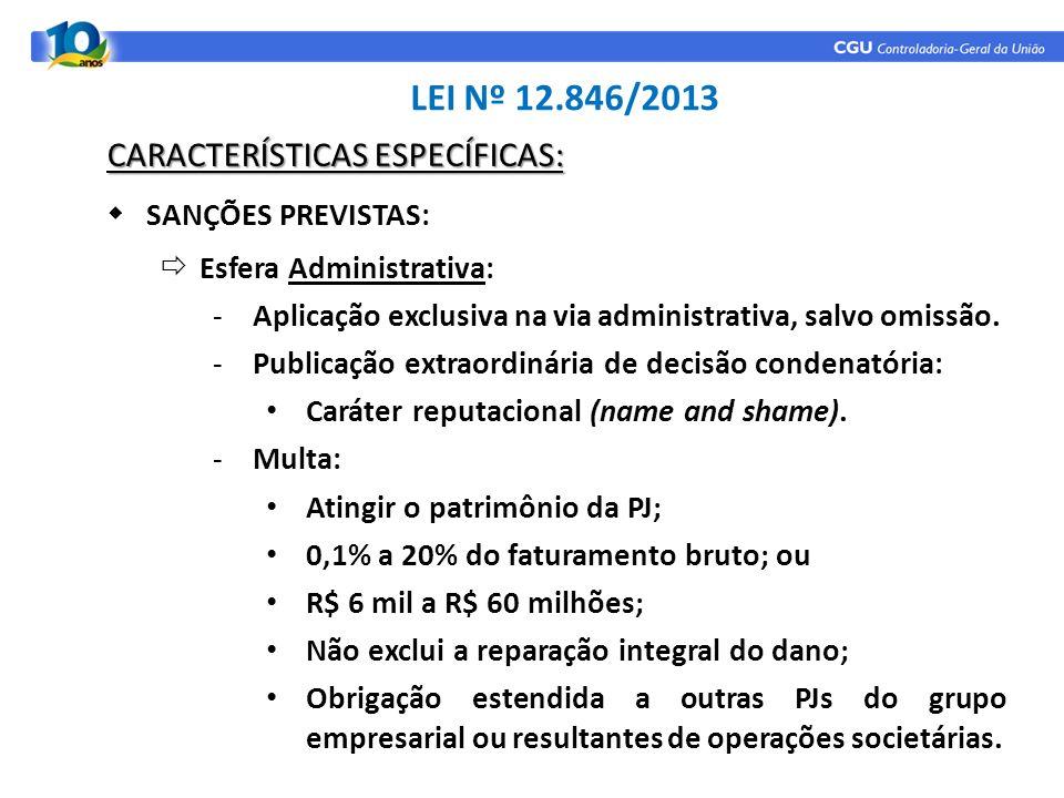 LEI Nº 12.846/2013 CARACTERÍSTICAS ESPECÍFICAS: SANÇÕES PREVISTAS: