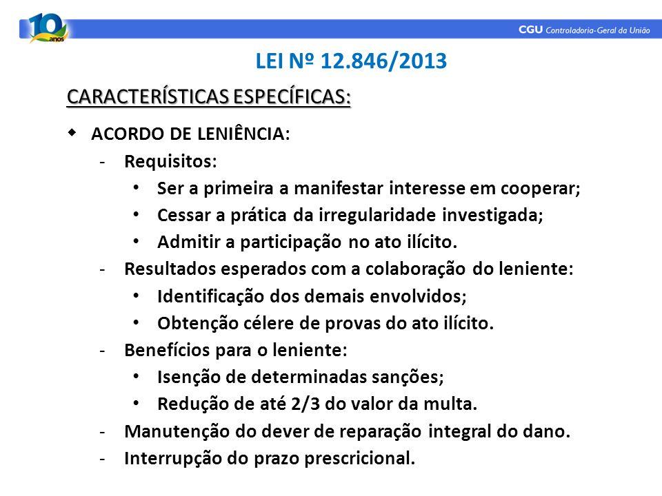 LEI Nº 12.846/2013 CARACTERÍSTICAS ESPECÍFICAS: ACORDO DE LENIÊNCIA: