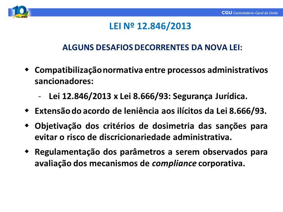 ALGUNS DESAFIOS DECORRENTES DA NOVA LEI: