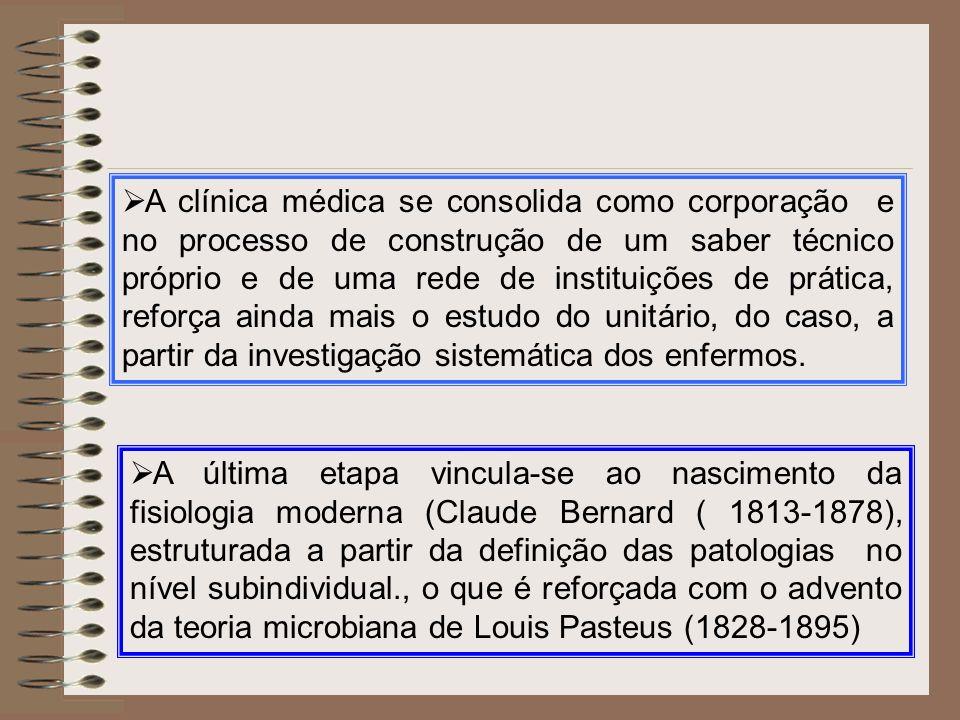 A clínica médica se consolida como corporação e no processo de construção de um saber técnico próprio e de uma rede de instituições de prática, reforça ainda mais o estudo do unitário, do caso, a partir da investigação sistemática dos enfermos.
