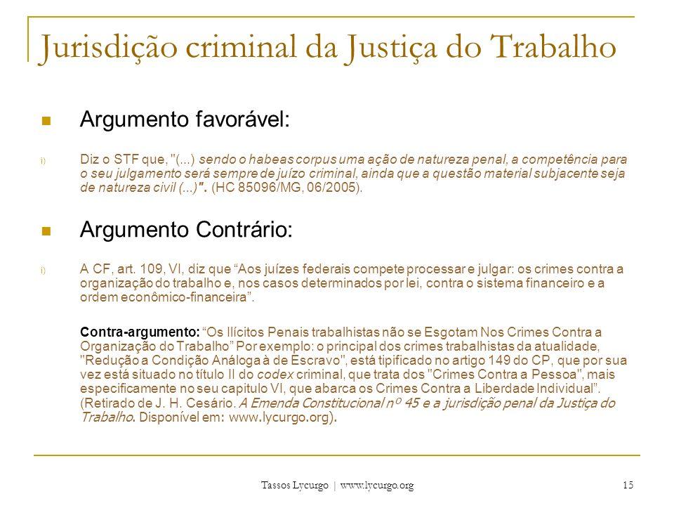 Jurisdição criminal da Justiça do Trabalho
