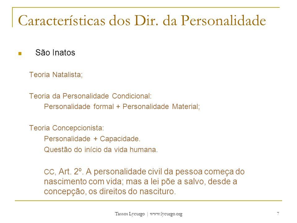 Características dos Dir. da Personalidade