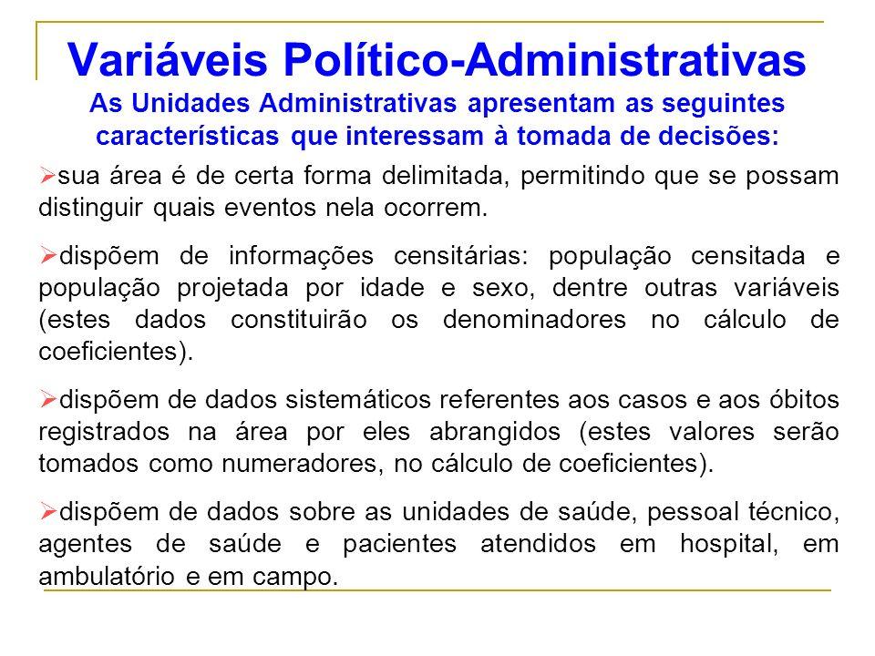 Variáveis Político-Administrativas As Unidades Administrativas apresentam as seguintes características que interessam à tomada de decisões: