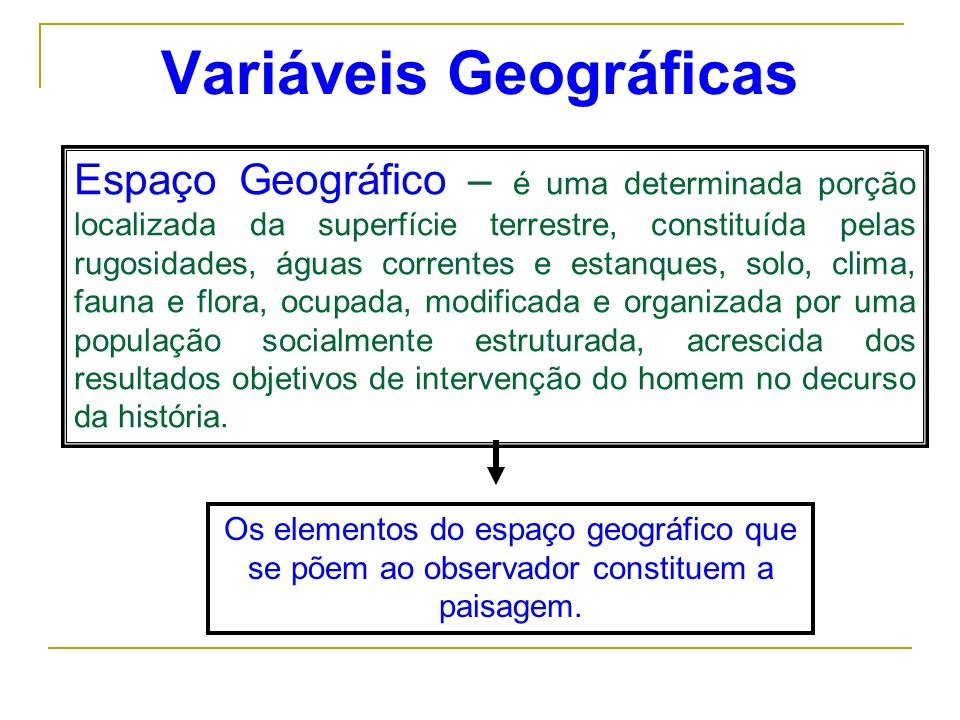 Variáveis Geográficas