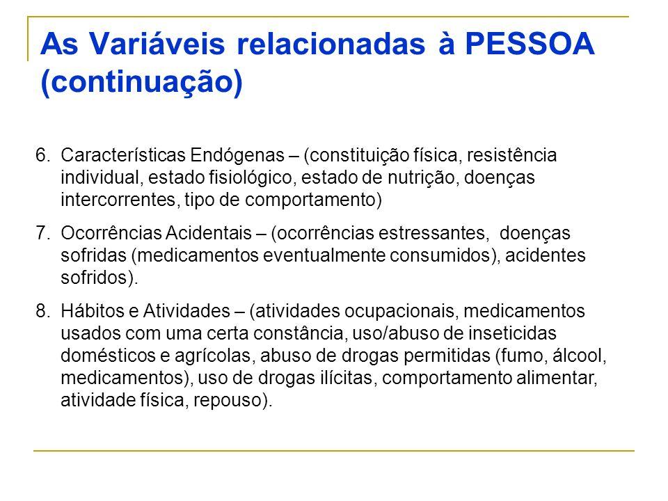As Variáveis relacionadas à PESSOA (continuação)