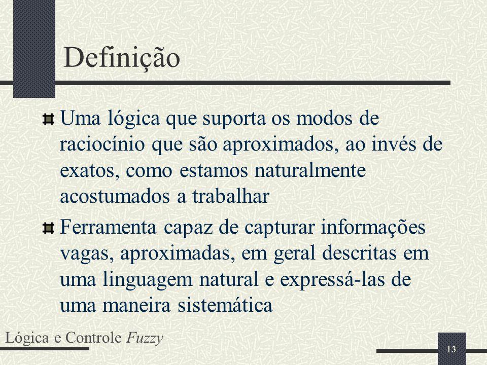 Definição Uma lógica que suporta os modos de raciocínio que são aproximados, ao invés de exatos, como estamos naturalmente acostumados a trabalhar.