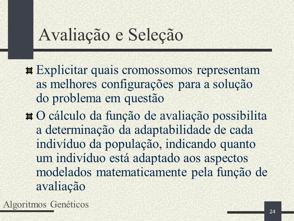 Avaliação e SeleçãoExplicitar quais cromossomos representam as melhores configurações para a solução do problema em questão.