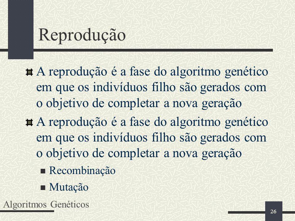 Reprodução A reprodução é a fase do algoritmo genético em que os indivíduos filho são gerados com o objetivo de completar a nova geração.