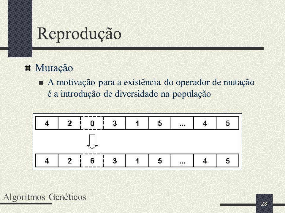 Reprodução Mutação. A motivação para a existência do operador de mutação é a introdução de diversidade na população.