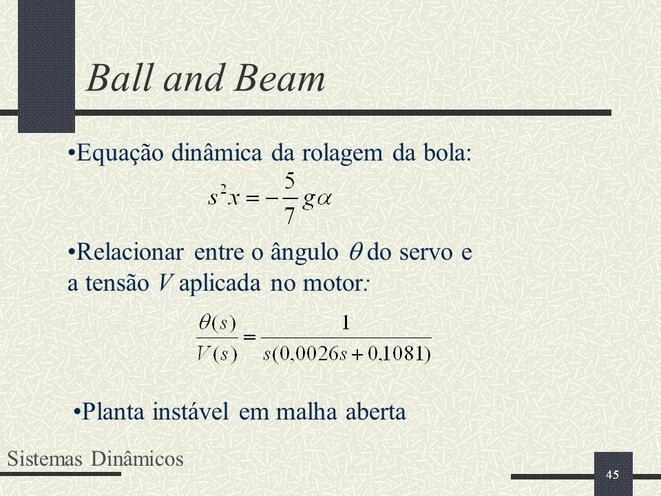 Ball and Beam Equação dinâmica da rolagem da bola: