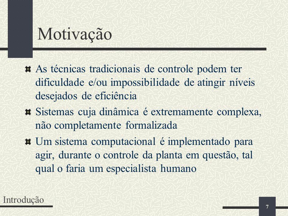Motivação As técnicas tradicionais de controle podem ter dificuldade e/ou impossibilidade de atingir níveis desejados de eficiência.