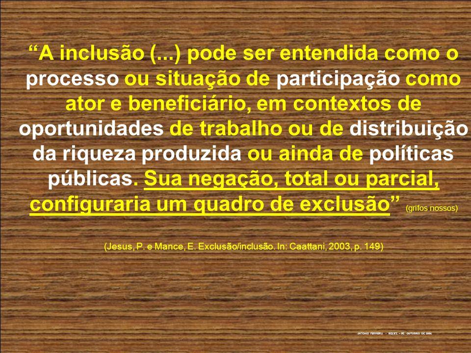 A inclusão (...) pode ser entendida como o processo ou situação de participação como ator e beneficiário, em contextos de oportunidades de trabalho ou de distribuição da riqueza produzida ou ainda de políticas públicas.