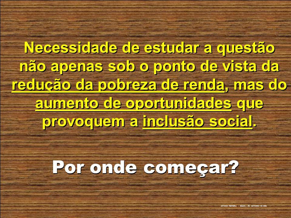 Necessidade de estudar a questão não apenas sob o ponto de vista da redução da pobreza de renda, mas do aumento de oportunidades que provoquem a inclusão social.