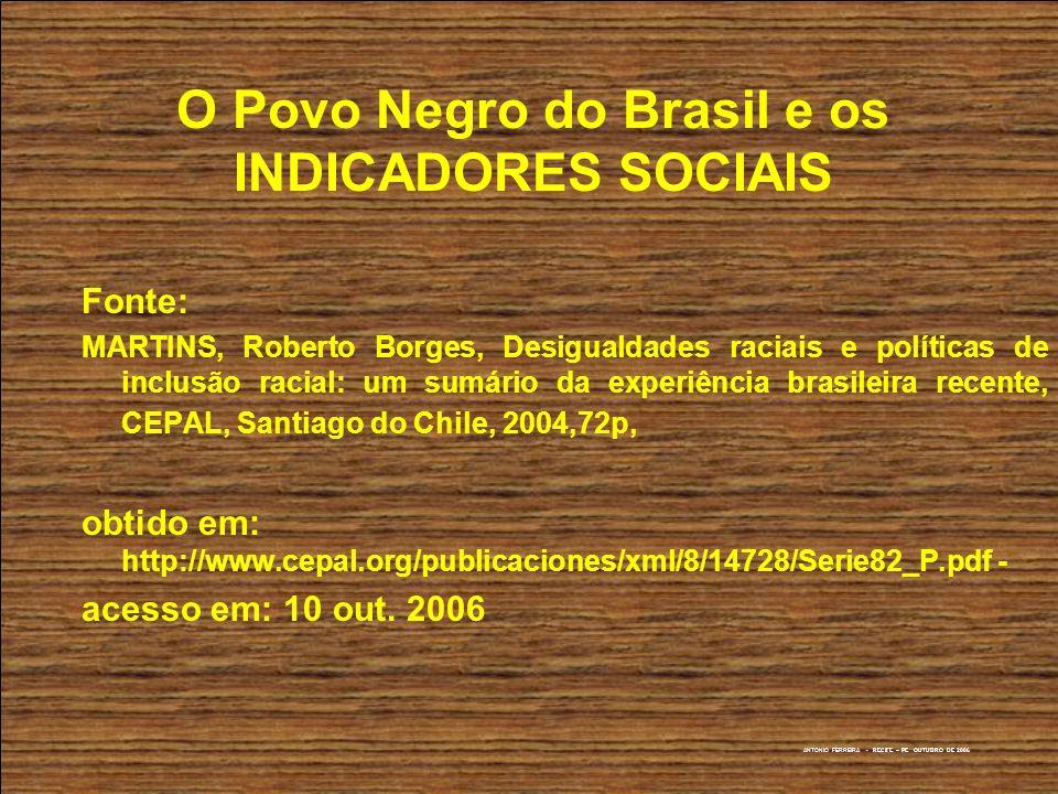 O Povo Negro do Brasil e os INDICADORES SOCIAIS