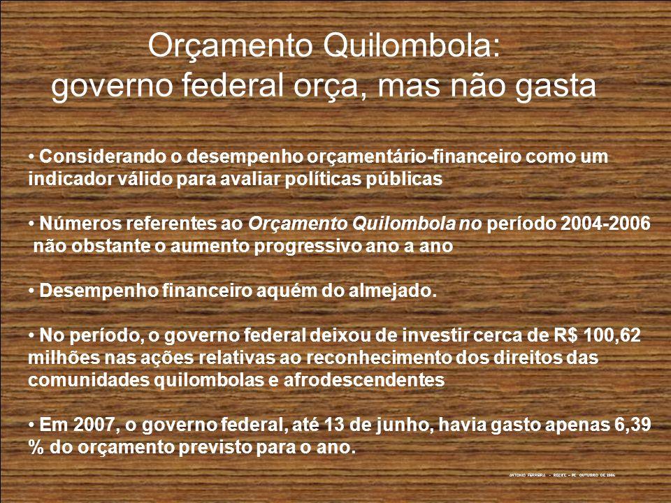 Orçamento Quilombola: governo federal orça, mas não gasta