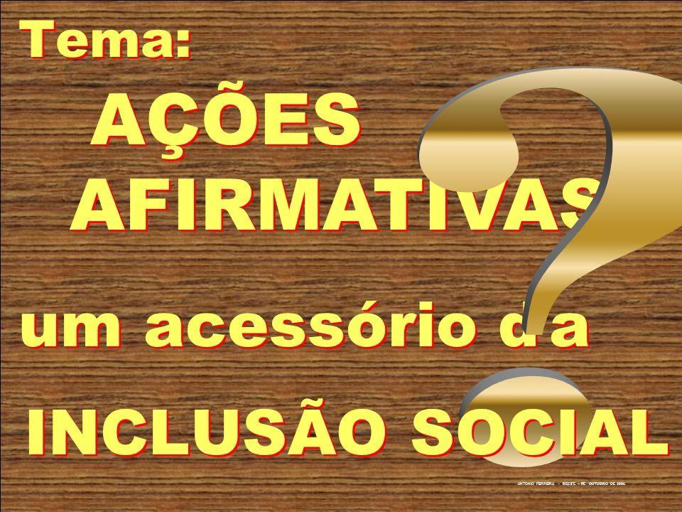 Tema: AÇÕES AFIRMATIVAS um acessório d a INCLUSÃO SOCIAL