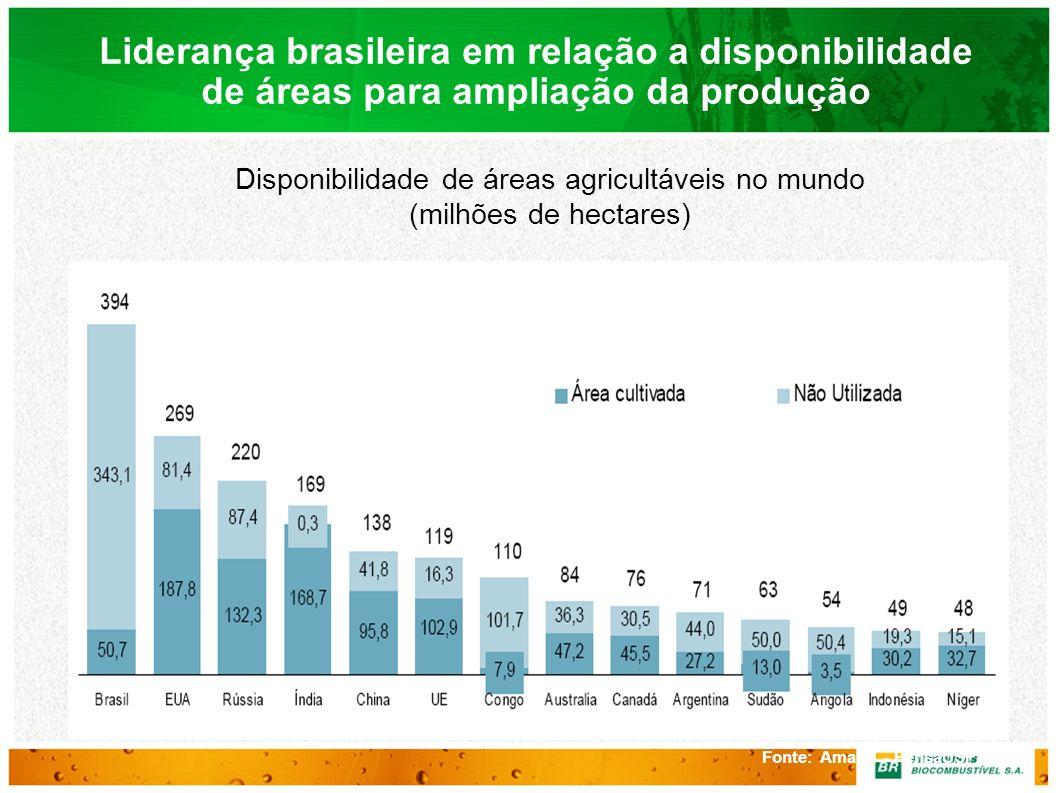 Disponibilidade de áreas agricultáveis no mundo (milhões de hectares)
